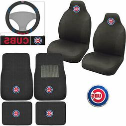 New MLB Chicago Cubs Car Truck Seat Covers Floor Mats Steeri