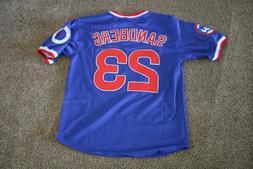 New Ryne Sandberg #23 Chicago Cubs Vintage Blue Pull-over Je