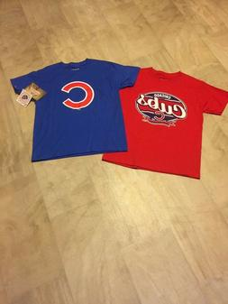 NWT 2 FOR 1 CHICAGO CUBS STITCHES BRAND BOYS T-SHIRTS SIZE L
