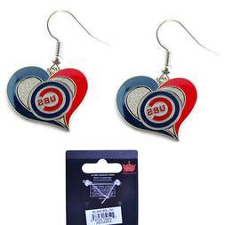NWT MLB Chicago Cubs Swirl Heart Shaped Earring Dangle Charm