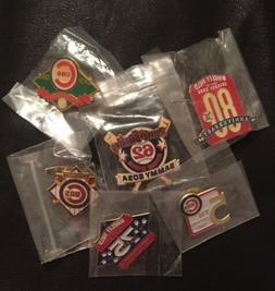 Set Lot 6 MLB Chicago Cubs Collector Pins~Sealed Vintage~Log
