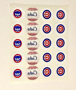 """SET of 20- 2"""" CHICAGO CUBS ADHESIVE STICKERS.Baseball,Birthd"""