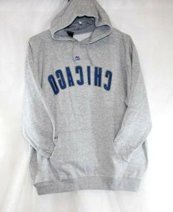 Womens Majestic Chicago Cubs Gray Blue Baseball Pullover Hoo