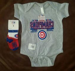 Chicago Cubs World Series Baby One Piece Bodysuit & Socks 12